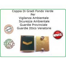 Coppia Gradi Guardie Giurate  Ittiche Venatoria Vigilanza Ambientale Provinciale Agente Scelto Oro Art.IT-2