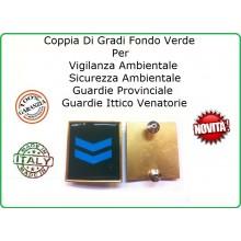 Coppia Gradi Guardie Giurate  Ittiche Venatoria Vigilanza Ambientale Provinciale Assistente Azzurro Art.IT-4