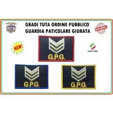 Gradi Velcro per Polo e Tuta OP GPG GPGIPS Sicurezza Brigadiere Argento New Art.GPG-G6
