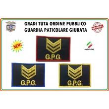 Gradi Velcro per Polo e Tuta OP GPG GPGIPS Sicurezza Brigadiere Oro New Art.GPG-G7
