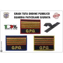 Gradi Velcro per Polo e Tuta OP GPG GPGIPS Sicurezza Maresciallo Aiutante Oro  New Art.GPG-G13