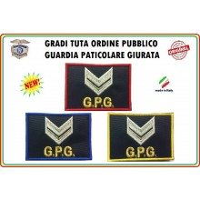 Gradi Velcro per Polo e Tuta OP GPG GPGIPS Sicurezza Vice Brigadiere Argento New Art.GPG-G5