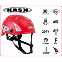 Casco Protezione Rosso PLASMA HI VIZ KASK ITALIA Soccorso Emergenza Alpinismo Sci Art.WHE00009-R