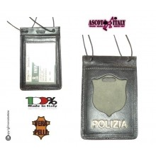Porta Placca Portaplacca da Collo per Polizia di Stato PS Operativi SENZA PLACCA LIBERA VENDITA Modello con Scritta POLIZIA  Ascot Italia Art.602POLIZIA