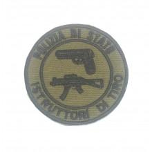 Patch Toppa Ricamata a Macchina con Velcro Polizia di Stato Istruttore di Tiro con Pistola e Fucile   Art. PS-P-F