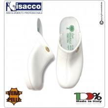 Zoccolo Ciabatta  Pelle + Gomma Donna o Uomo Light Bianco Isacco Professionale Art.112010