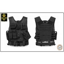 Tactical Vest - Gilet Tattico Modulare Corpetto Tattico USMC Mil-Tec Nero Art.10720002