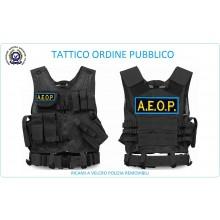 Tactical Vest Gilet Tattico Modulare Corpetto Tattico Mil-Tec Nero A.E.O.P. Ass. Europea Operatori di Polizia Art.10720002-AEOP