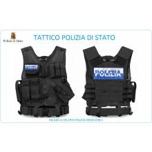 Tactical Vest Gilet Tattico Modulare Corpetto Tattico Mil-Tec Nero POLIZIA DI STATO VENDITA RISERVATA Art.10720002-PS