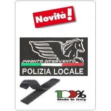 Patch Toppa con Velcro Polizia Locale Nuovo Logo Nazionale Nero + Bandiera modello Piccolo cm 5x10 Art. PL-NEW-1