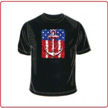 T-Shirt Maglietta American Flag Anchor On US Colore Nero Art.T-FLAG