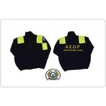 Maglione Maglioncino Pile Ricamato con Toppe Protezione Civile AEOP Ass. Europea Operatori  Polizia Caldo Comodo FINE SERIE Art.PILE-AEOP