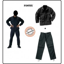 Completo BDU Giacca + Pantaloni Cargo Colore NERO Guardie Giurate Vigilanza SWAT Soft Air FOSTEX Art.125432