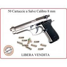 Cartucce a Salve Proiettili a Salve Calibro 8 mm Confezione 50 Colpi per Pistola Automatica Art.NSD-8MM