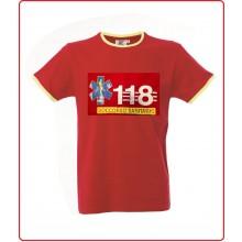 T-shirt Maglietta Manica Corta Girocollo Rossa Profili Gialli con Stampa Frontale Soccorso 118 Art.990234-118