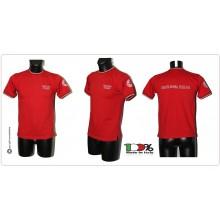 T-shirt Girocollo Manica Corta Italia Rossa Tricolore ItaliaRicamata Croce Rossa Italiana CRI C.R.I.  Art.CRI-TRI-R