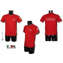 T-shirt Girocollo Manica Corta Rossa Tricolore Italia Ricamata Croce Rossa Italiana SETTORE EMERGENZA CRI C.R.I. Art. CRI-TRI-R-E