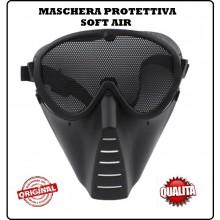 Maschera Viso Integrale Softair Protettiva Occhi Bocca Nero Blak  Art.KR014B