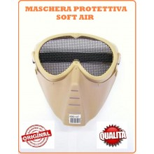 Maschera Viso Integrale Softair Protettiva Occhi Bocca Tan Art.KR014T