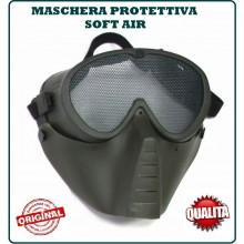 Maschera Viso Integrale Softair Protettiva Occhi Bocca Verde OD Art.KR014V