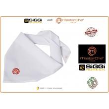Triangolo Fazzoletto Bianco  con Ricamo  Master Chef  Masterchef Originali Siggi Art.26FZ0007