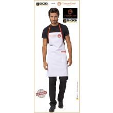 Parannanza Grembiule con Pettorina Falda Bianco con Ricamo  Master Chef  Masterchef Originali Siggi Art.26PZ0332