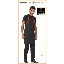 Parannanza Grembiule con Pettorina Falda Nera con Ricamo  Master Chef Originali Masterchef Personalizzata Siggi Art.26PZ0332/00