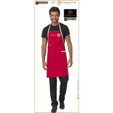 Parannanza Grembiule con Pettorina Falda Rossa con Ricamo Master Chef  Masterchef Originali Siggi Art.26PZ0332/R