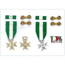 Croce Medaglia con Nastrino per Anzianità di Sevizio 16 Anni 25 Anni Completa di Supporto a Clip e Nastrino Art.NSD-ANS