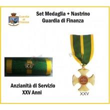 Set Medaglie Anzianità di Servizio Guardia di Finanza Oro XXV anni  Art.FAV-SET18