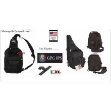 Marsupio Borsa Monospalla  Doppio Uso MOLLE Nero Personalizzato Guardia Particolare Giurata GPG IPS Art.30700A-GPG