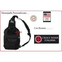 Marsupio Borsa Monospalla  Doppio Uso MOLLE Nero Personalizzato Croce Rossa Italiana CRI Art.30700A-CRI