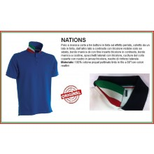 Polo Manica Corta Blu Royal Modello NATION  Italia Collo Tricolore Art.NATION-1