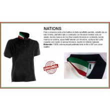 Polo Manica Corta Nero Black Modello NATION  Italia Collo Tricolore Art.NATION-2