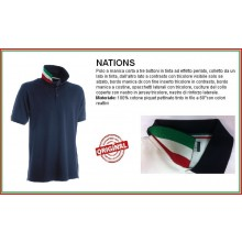 Polo Manica Corta Blu Navy Modello NATION Italia Collo Tricolore Art.NATION-3