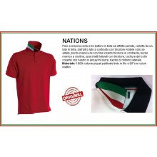Polo Manica Corta Rosso Red Modello NATION Italia Collo Tricolore Art.NATION-4