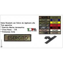 Targhette Nominativa Nome Personalizzato per Tuta Operativa Esercito Marina Soccorso 118 ecc...  Art.NSD-NOME
