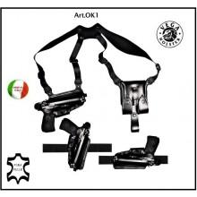 Fondina per Pistola Professionale Uso Occulto Ascellare Cuoio Nero Marrone Vega Holster Italia Art.OK1