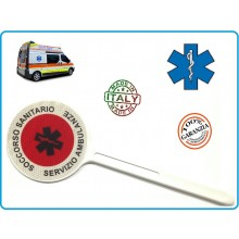 Paletta Segnaletica Ambo le Parti Rosse Soccorso Sanitario Croce Esculappio Servizio Ambulanze Art.NSD-PALESCSA