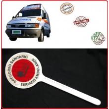 Paletta Segnaletica Ambo le Parti Rosse Soccorso Sanitario 118  Servizio Ambulanze Art.NSD-PAL118SA
