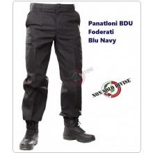 Pantaloni Pantalone Multitasche Multi Tasche Foderato BDU Blu Nevy Security Vigilanza Polizia Privata NSD Art.NSD-PANT-B