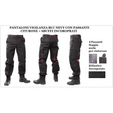 Pantaloni Multitasche Multi Tasche Cargo  BDU Blu Navy con Doppi Passanti per Cinturone e Sbuffi Art.NSD-VIG