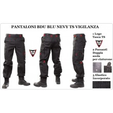 Pantaloni Multitasche BDU Blu Navy con Logo Top Sicret Vigilanza Art.NSD-TOP