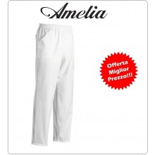 Pantalone Unisex Professionale Coulisse Cuoco Chef Bianco 100% Cotone Tinto in Filo By Amelia Primo Prezzo per Scuola Alberghiera  Art.AMELIA-4