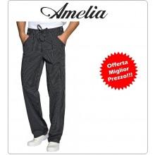 Pantalone Unisex Professionale da Cuoco Coulisse Chef Gessato Nero 100% Cotone Tinto in Filo By Amelia Primo Prezzo per Scuola Alberghiera  Art.AMELIA-3