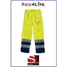 Pantaloni Giallo Blu Protezione Civile Alta visibilità EN471 Classe 2 Modello Red4Life Gruppo Siggi Art.08PA0743