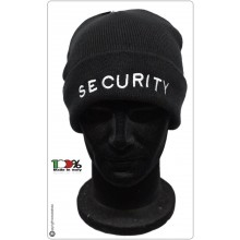 Berretto Zuccotto Papalina Watch Cap Invernale Nero con Ricamo SECURITY  Art.SEC-10