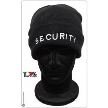 Berretto Zuccotto Papalina Watch Cap Invernale Nero con Ricamo SECURITY  Art.SEC-10