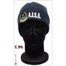 Berretto Lana - Papalina - Blu Con Logo Ricamato AISA  Art.NSD-A-Log