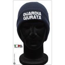 Berretto Zuccotto Papalina Invernale Blu Navy Guardia Giurata Solo Scritta Bianca  Art.T-GG